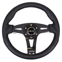NRG 320mm Black Leather Steering Wheel w/ Carbon Center Spoke