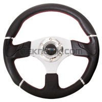 NRG 320mm Evo Leather Steering Wheel with Red Stitch and Chrome trim