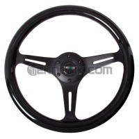 NRG 350mm Colored Wood Grain Wheel 3 spoke center in Black