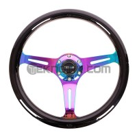 NRG 350mm Colored Wood Grain Wheel 3 spoke center in Neo Chrome