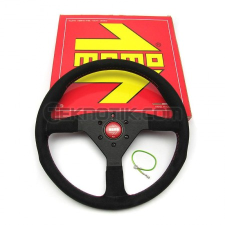 Momo Monte Carlo Steering Wheel 350mm Black Alcantara Suede w/ Red Stitching