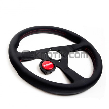 MOMO Monte Carlo Steering Wheel 350mm Black Leather Red stitching